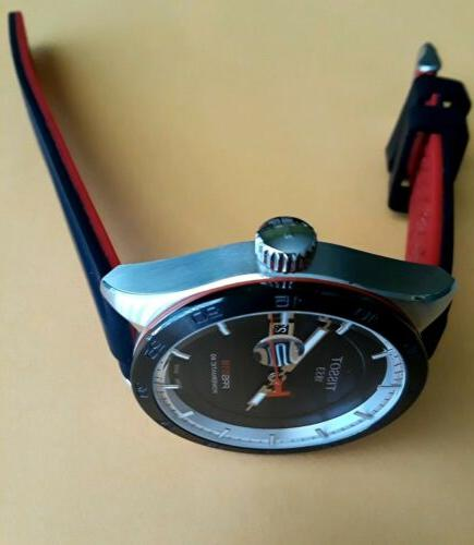 TISSOT AUTOMATIC SWISS 42mm 100M RED SILICONE/LEATHER