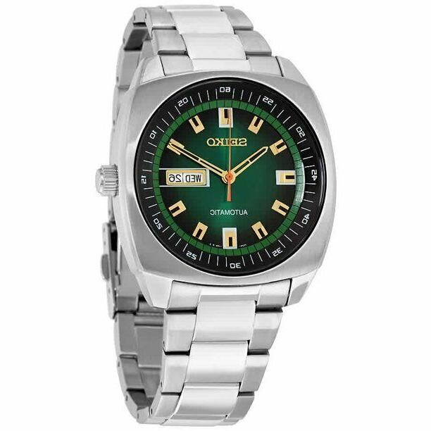 Seiko Men's SNKM97 Analog Green Dial Automatic Silver Stainl