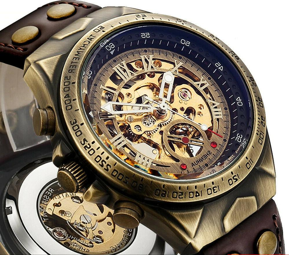 steampunk automatic mechanical leather skeleton bronze trans