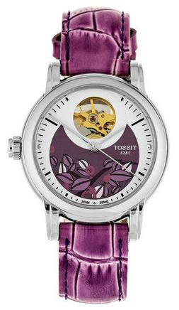 Tissot Lady Heart Automatic Violet Leather Women Watch T0502