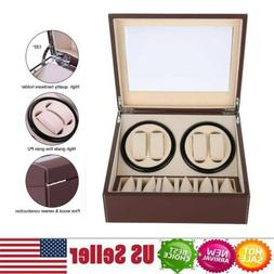 Leather Watch Winder Storage Auto Display Case Box 4+6 Autom