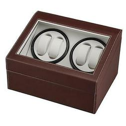 Leather Watch Winder Storage Display Case Box 4+6 Slots Auto