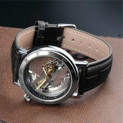 Luxury Men's Skeleton Leather Steampunk Automatic Mechanical