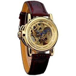 Luxury Women Brown Leather Gold Skeleton Automatic Mechanica