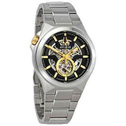 Bulova Maquina Black-Skeleton Dial Automatic Men's Watch 98A