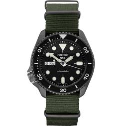 Seiko Men's 5 Automatic Black Dial Nylon Strap Watch SRPD91