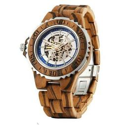Men's Genuine Automatic Zebra Wooden Watches No Battery Need