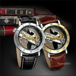 Men's Grant Automatic Skeleton Dial Stainless Steel Leather