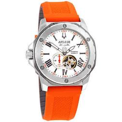 Bulova Men's Marine Star Silver Dial Orange Silicone Strap W