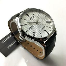 Citizen Men's Automatic NH8350-08A Silver Leather Hand Wind