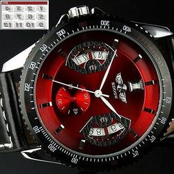 Men's Sport Wrist Watch Automatic Date Stainless Steel Leath