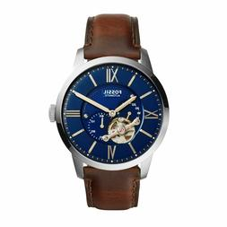 Fossil Men's Watch Automatic Townsman Leather Dark Brown ME3
