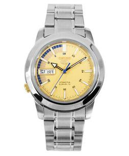 SEIKO Men Silver tone Automatic Watch Yellow dial with blue