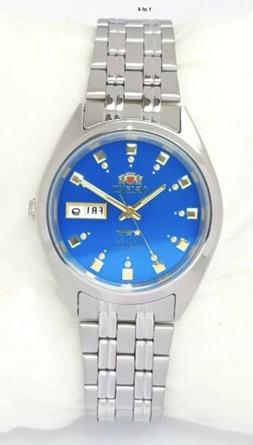 ORIENT Mens Automatic Movt 3 Star Watch Silver Tone Blue dia