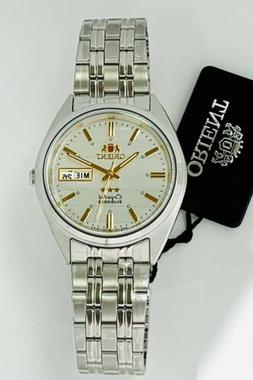 ORIENT Mens Automatic Movt 3 Star Watch Silver Tone White di