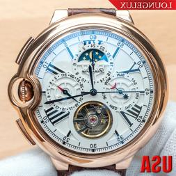 Mens Date Day Moon Phase Automatic Mechanical Watch Rose Gol