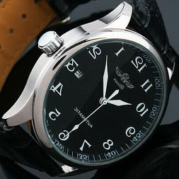 Mens Watch Automatic Black Dial Silver Leather Strap Date Di