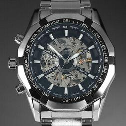mens watch automatic silver stainl steel case