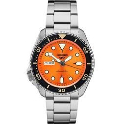 New Seiko 5 Automatic Orange Dial Steel Bracelet Men's Watch