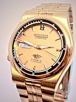 New  Men's Automatic 21 Jewels CITIZEN Gold & Gold Dial Watc