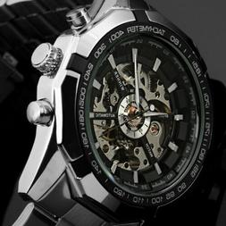 new men s skeleton stainless steel automatic