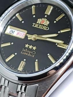 NEW-ORIENT 3 STAR MAN AUTOMATIC 21 JEWELS BLACK DIAL..