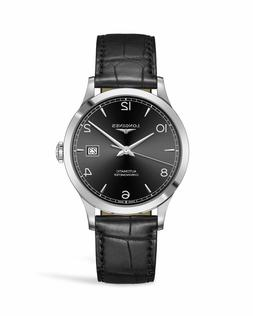 New Longines Record Automatic Black Dial Leather Strap Men's