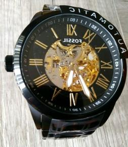New Fossil Skeleton Automatic Black Ion Stainless Steel Men'