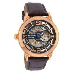 Invicta Objet D Art Skeleton Dial Brown Leather Band Automat