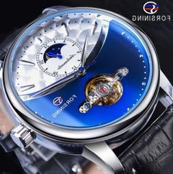 ON SALE Skeleton Moon Phase Automatic Mechanical Leather Ban