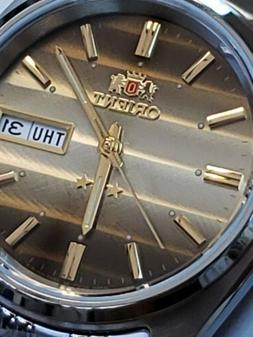ORIENT 3 STAR MAN AUTOMATIC 21 JEWELS BROWN -WAVE DIAL. FREE