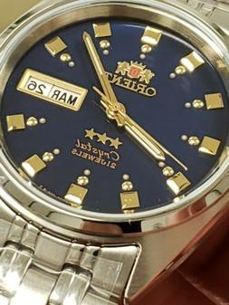 🤩ORIENT 3 STAR MAN AUTOMATIC 21 JEWELS BLUE DIAL#FAB00009