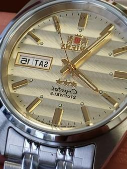 ORIENT 3 STAR MAN AUTOMATIC 21 JEWELS SUN-WAVE DIAL. FREE GI