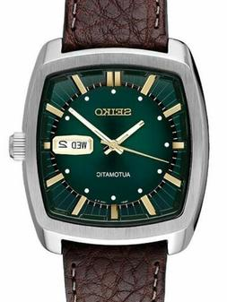 SEIKO RECRAFT Series Square Green Dial Brown Leather Band Au