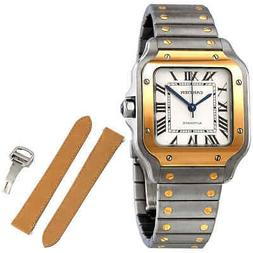 Cartier Santos Automatic Steel and 18kt Yellow Gold Men's Wa