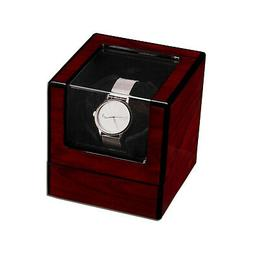 Single Watch Winder Automatic Rotation Wood Display Case Sto