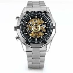 Skeleton Dial Automatic Mechanical Watch Men's Stainless Ste
