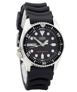 Seiko Men's SKX013K Black Rubber Automatic Watch with Black