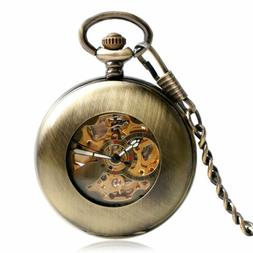 Smooth Pocket Watch Automatic Mechanical Copper Fob Pendant