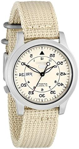 Seiko Men's SNK803 Seiko 5 Automatic Watch with Beige Canvas