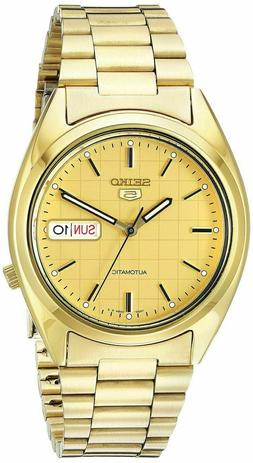 SEIKO SNXL72 Mens Gold Plated Steel Automatic Gold Dial w Da