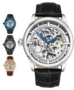 Stuhrling 3933 Men's Skeleton Automatic Self Wind Luxury Lea