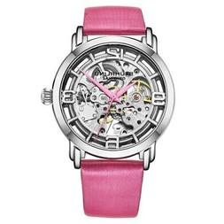 Stuhrling 3982 3 Winchester Automatic Skeleton Pink Leather