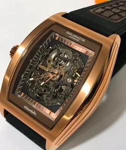 Stuhrling Automatic Skeleton w/Brown/ Rose Gold Dial & Band