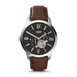 FOSSIL TOWNSMAN AUTOMATIC WATCH LEATHER BROWN $195