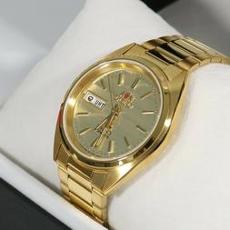 Orient Tristar 3 Star Gold Tone Automatic Watch FAB0000BC