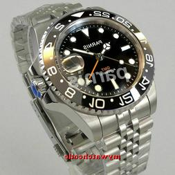 UK STOCK 40MM PARNIS GMT HOMAGE AUTOMATIC DIVER WATCH BLACK