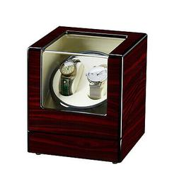 Double Watch Winder Automatic Rotation Wood Display Case Sto
